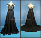 Applique Ladies Party Dresses Black A-Line Prom Fashion Evening Gowns Z5018