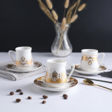2021 Fashion Design Wholesale Gold Rim Coffee Ceramic Mug and Saucer Sets