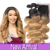 8A Ombre Peruvian Virgin Hair Body Wave with Closure Lace Closure Honey Blonde Hair