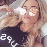 Cat Eye Vintage Brand Designer Rose Gold Mirror Sunglasses for Women Metal Reflective Flat Lens Sun Glasses Female Oculos