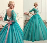 Mint Green Blue Party Cocktail Ball Gown Sheer Long Sleeves Evening Dresses E3026 (Z3026)