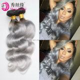 Fashionable Style 100% Two Tone Peruvian Hair Weft Ombre Colored 1b/Gray Grey Hair Body Wave at Wholesale Price