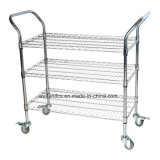 Factory Direct 3 Tiers Chrome Commercial Metal Utility Container Trolley