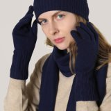 Ladies′ Wool Knitted Navy Long Gloves