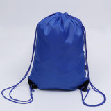 Customized Promotional Cheap 210d Blue Polyester Nylon Gym Sports Backpack Drawstring Bag for Kids