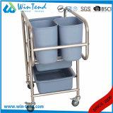 Hotel Housekeeping Knock Down Hotel Food Cleaning Cart Trolley 5 Bins