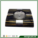 High Glossy Finish Wooden Ashtray with Metal Decorations