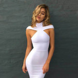 New Winter Fashion Sexy off Shoulder Dress Halter Bandage Dress White Dress