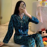 Autumn Pajamas Women′s Multi Style Silk Long Sleeve Pants Cartoon Cute 2-Piece Suit Household Clothes