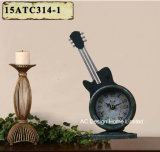 Vintage Decoration Antique Grey Guitar Shape Metal Table Top Clock