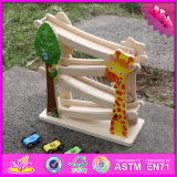 2016 Wholesale Kids Wooden Ramp Racer, 4 Level Baby Wooden Ramp Racer, Funny Sliding Car Wooden Ramp Racer W04e044