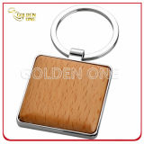 Custom Design Square Shape Wooden Metal Key Chain