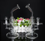 Simple Glass Water Pipe with Wheel Perc 2 Function Glass Pipe for Smoking