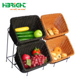 Oblong Oval Hand PP Woven Willow Wicker Storage Picnic Shopping Rattan Basket