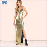 Tight Fitting Sexy Golden Long Slip Dress for Ladies