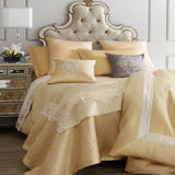 Premium Bed Linen, Luxury Hotel Cotton Bedding Set Embroidery Golden Bedding