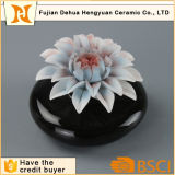 Hot Sale Black Ceramic Perfume Bottle with Flower Cap