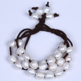 Freshwater Pearl Bracelet Leather Beaded Bangle