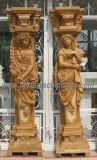 Home Decorative Carved Stone Sculpture Marble Carving Lady Woman Statue Column Pillar for Entrance Gate Porch Decoration (QCM127AB)
