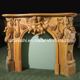 Indoor Fireplaces, Yellow Marble Stone Carved Fireplace for Home Decoration