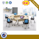 Cheap Price School Office Wooden Furniture Round Wood Study Folding Table Student Desk with Metal Leg