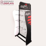 Black Metal Big Glove Display Stand with Hook and Wheel and Logo Board