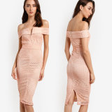 off Shoulder Neckline Pink Lace V Bardot MIDI Dress