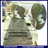 French Granite Tombstones with Colored Tree Design