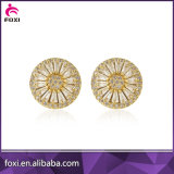 Micro Pave CZ Zirconia Gold Plated Pizza Stud Earrings for Women