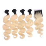 Factory Wholesale High Quality Brazilian Luxury Colored Human Virgin Ombre Blonde 1b/613 Brazilian Human Hair Extension