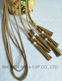 Fashion Multicolor Beaded Suede Leather Tassel Belt Curtain Decoration Webbing