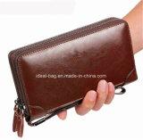 Hot Sale PU Leather Man Double Zipper Wallet Clutch Bag Purse, Men Business Bags Handbag