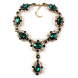 Women Fashion Design Gemstone Choker Jewelry Party Necklace Elegant Temperament Gold Plated Glass Gems