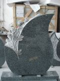 Cheap Granite Tear Drop Tombstones and Monuments Olive Green Headstone