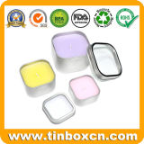 8 Ounce Square Seamless Candle Tin with Window Cover