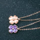Girls Fashion Jewelry Stainless Steel Crystal Leaf Clover Pendant Necklace