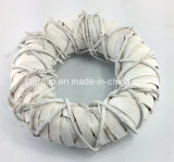 White Color Round Handweave Wicker Decorative Wreath for Christmas