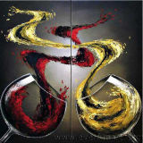 Wall Art Wine Glasses Hand Painted Canvas Oil Painting for Home Decor (XD2-041)