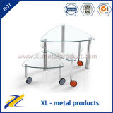 Rotary Glass Top and Stainless Legs Coffee Table