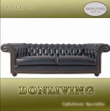 Blue Classic Chesterfield Genuine Leather Sofa (A7)