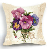 Beautiful Square Pansy Design Decor Fabric Cushion W/Filling