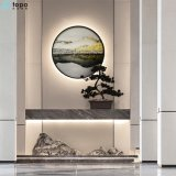 500mm Circle Chinese Landscape Oil Painting for Wall Decor (MR-YB6-2051D)