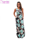 Neartime Navy Mint Floral Print Floral Boho Long Maxi Dress Beach Sundress