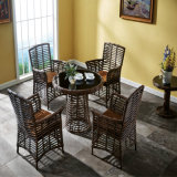 Leisure Furniture Outdoor Rattan Light Brown Dining table and Chairs