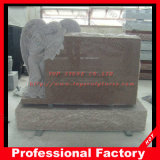 Red Granite Top Carving Angel Sculpture Memorials Headstone