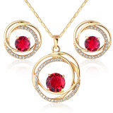 New Arrival Red Zircon Copper Brass Crystal Fashion Jewelry Set