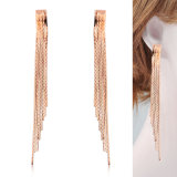 European and American Fashion Long Drop Gold Tassel Earrings