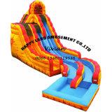 Yellow Symphony Double Lane Water Slide Inflatable