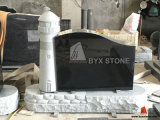 Light Grey Granite Lighthouse Carved Monument / Headstone