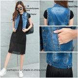 Low Price Women Fashion Clothes Korean Sleeveless Cotton Denim Jacket